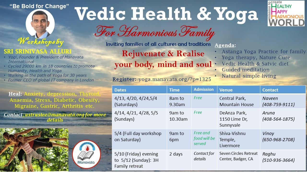 Holistic Health and Yoga Workshops in Bay area by Srini